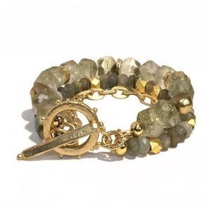 Gemstone beaded bracelet NWOT boho labradorite